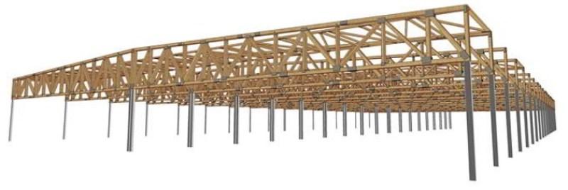 Medinės santvarinės konstrukcijos didelių tarpatramių statiniams