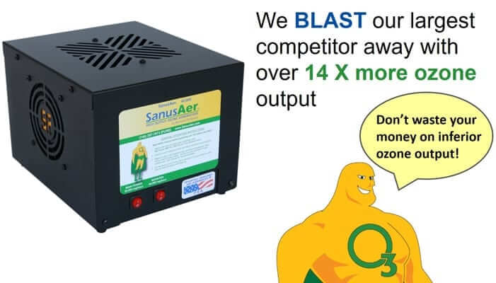 We blast our largest competitor away with over 14 times more ozone output, so don't waste your money on inferior ozone output.