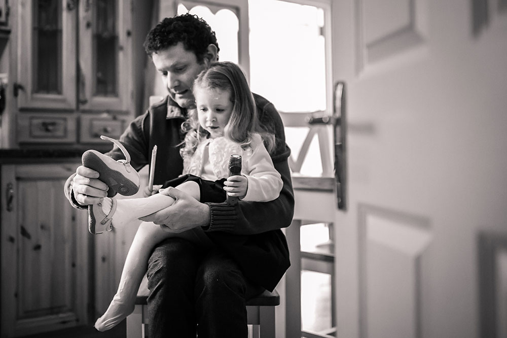 Dad, father, daughter, documentary, black and white, family photography