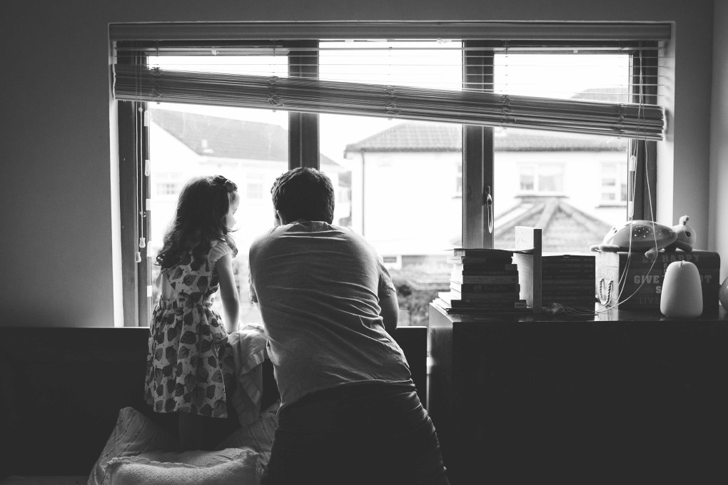 dad, father, daughter, window, documentary