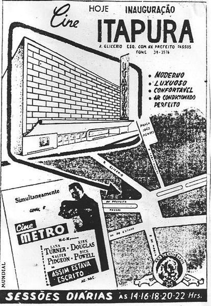 Cartaz de inauguração do Cine Itapura em 1952.