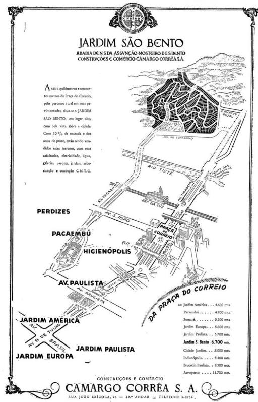 Anúncio de loteamento do Jardim São Bento em 1948