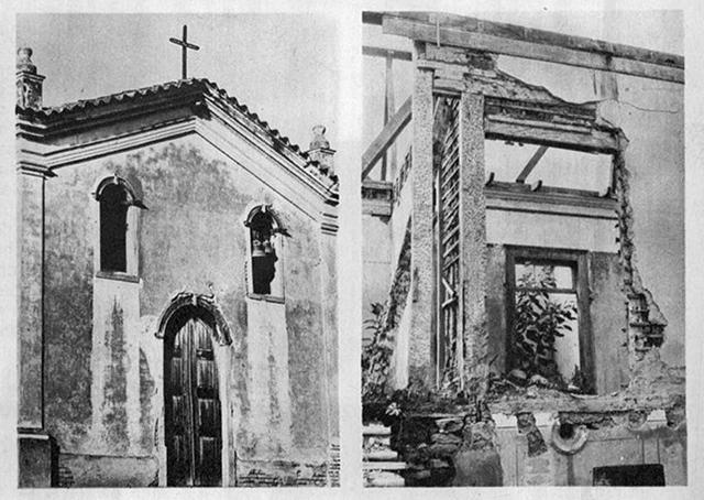 Ruínas da igreja e casario em 1964 / Foto: Jorge Butsuem