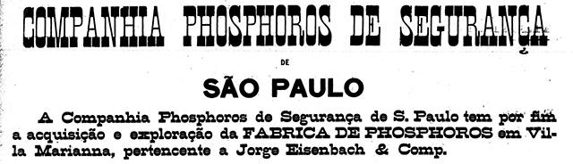 Venda da fábrica de fósforos de Vila Mariana em 1889