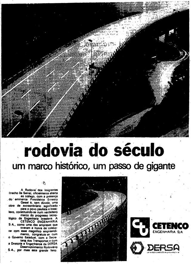 Anúncio veiculado em jornal no dia da inauguração da rodovia