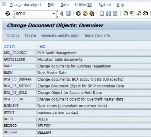 SCDO- Change Documents Object