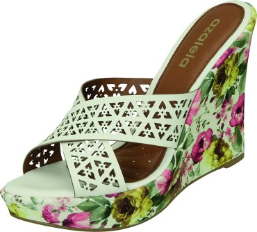 Azaleia - sandália mule anabela salto alto floral com tiras