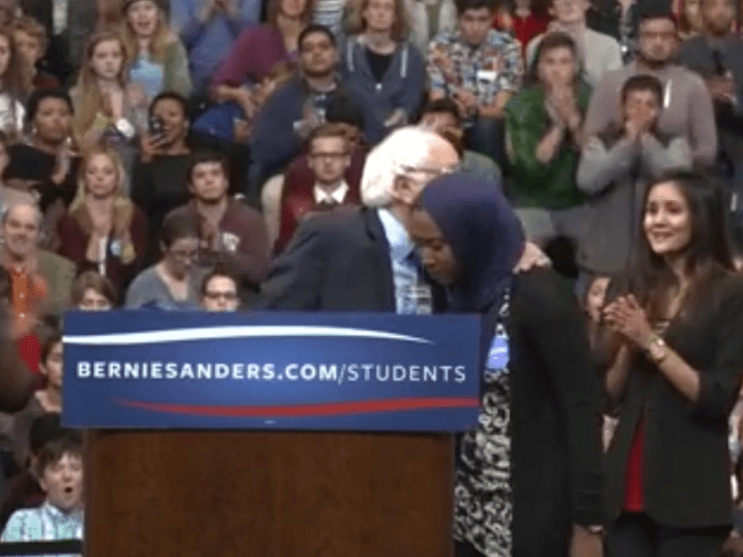 Sanders with Muslim American college student, Northern Virginia in 2015.