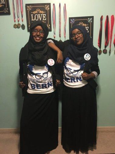 Dahir sisters on their way to the polls in Utah