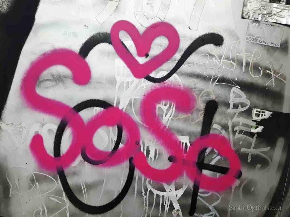 cœur, Soso, déclaration, amour, gris, métal, Montréal, Saphir Optimiste