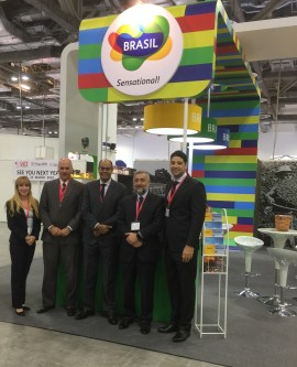 Ambassador Flavio Soares Damico and Head of Trade Sector of Embassy of Brazil in Singapore, Herbert Drummond, with Sapiens Global's team at Cafe Asia 2017