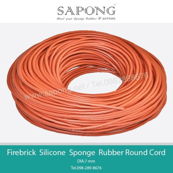 Firebrick Silicone Sponge Rubber Round Cord