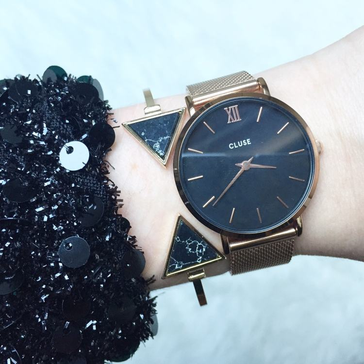 cluse watch with black marble bracelet