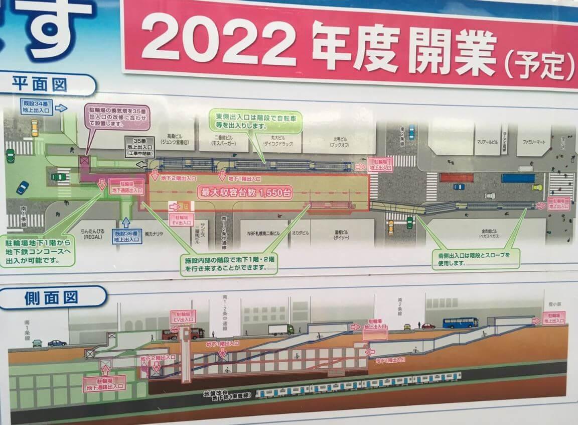 札幌南2西2巨大駐輪場イメージ図
