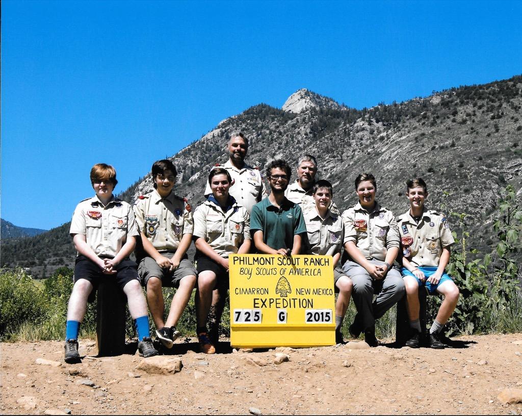 L to R JT Reichard, Kaden Jackson, Lane Medlen, Ranger Henry Chapman, Carson Wright, Gabe Jackson, Evan Linfoot Standing: Cary Mans & Jack Wright