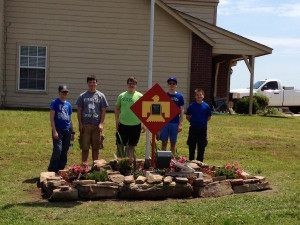 Gabe's project at Freedom Park L to R Nick Lynam, Kaden Jackson, Gabe Jackson, Trey Bartlett, Noah Schneider