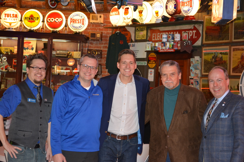 From Left: Rhys Martin—president of OK Rt. 66 Association; State Representative Mark Lawson; Lt. Gov Matt Pinnell; Author and historian Michael Wallis; Ken Busby, Executive Director of OK  Rt. 66 Association.
