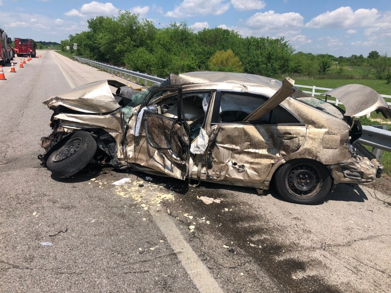 """Highway 75 Collision between semi and Pontiac; police say all """"are going to be fine"""""""