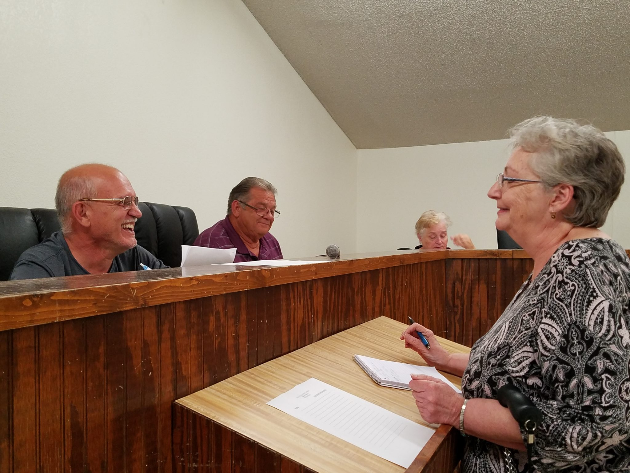 Jacqueline Case, who runs the city Library, gives her report to the the trustees as the newly-seated mayor, Terry Voss, looks on.