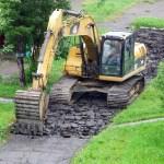 excavator, asphalt, road repair