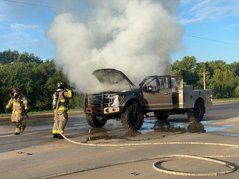 Photos: Fire engulfs truck during Monday morning rush hour