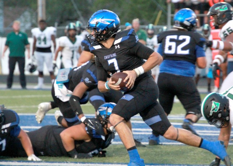 Chieftains soar over Eagles in 61-13 home opener