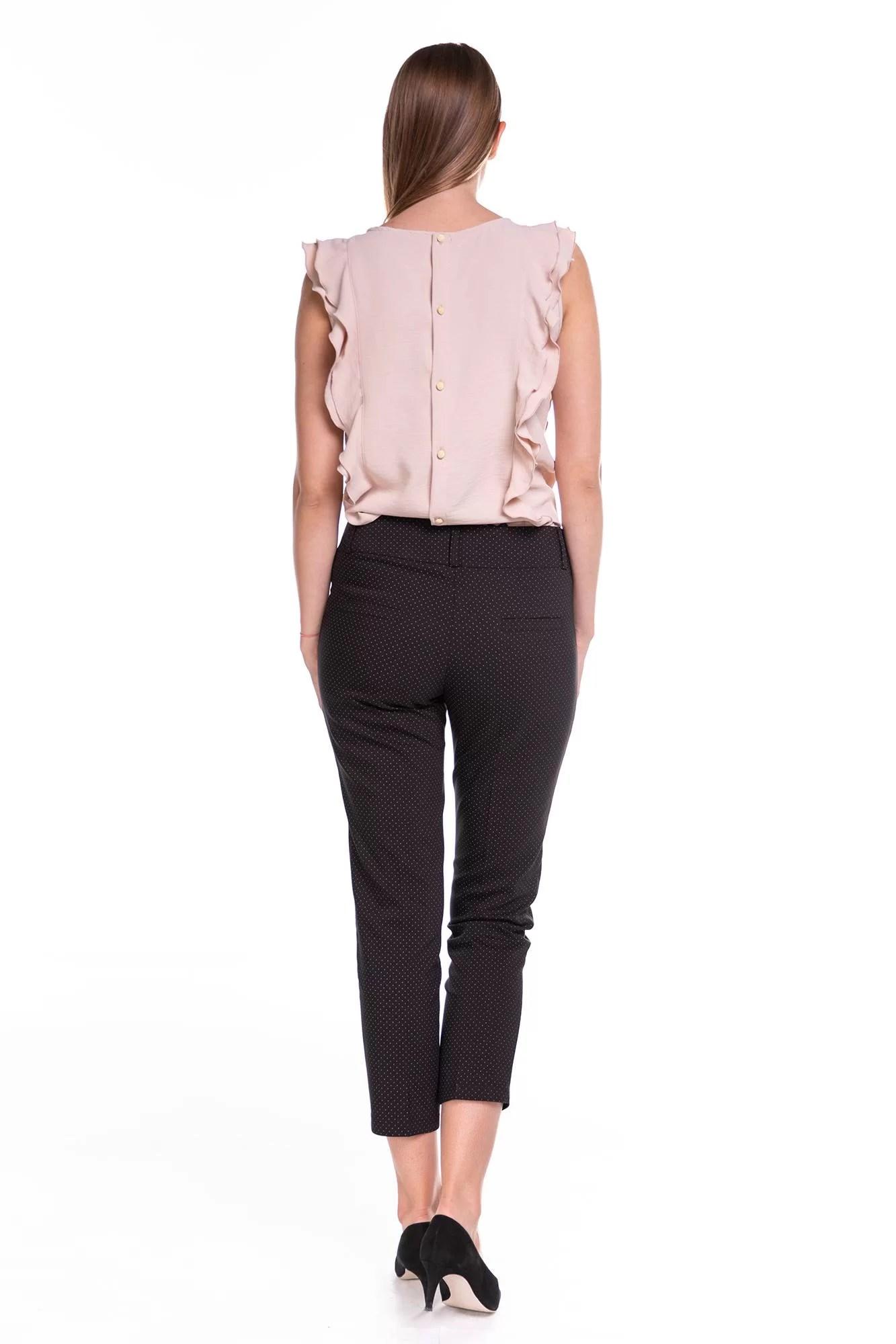 Spodnie Capri Czarne w kropki
