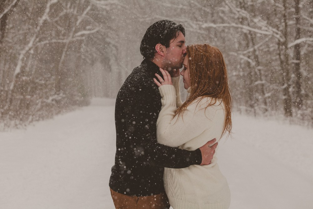 Northern Illinois surprise winter wonderland proposal session photographed by Sara Anne Johnson - Sara Johnson Photography