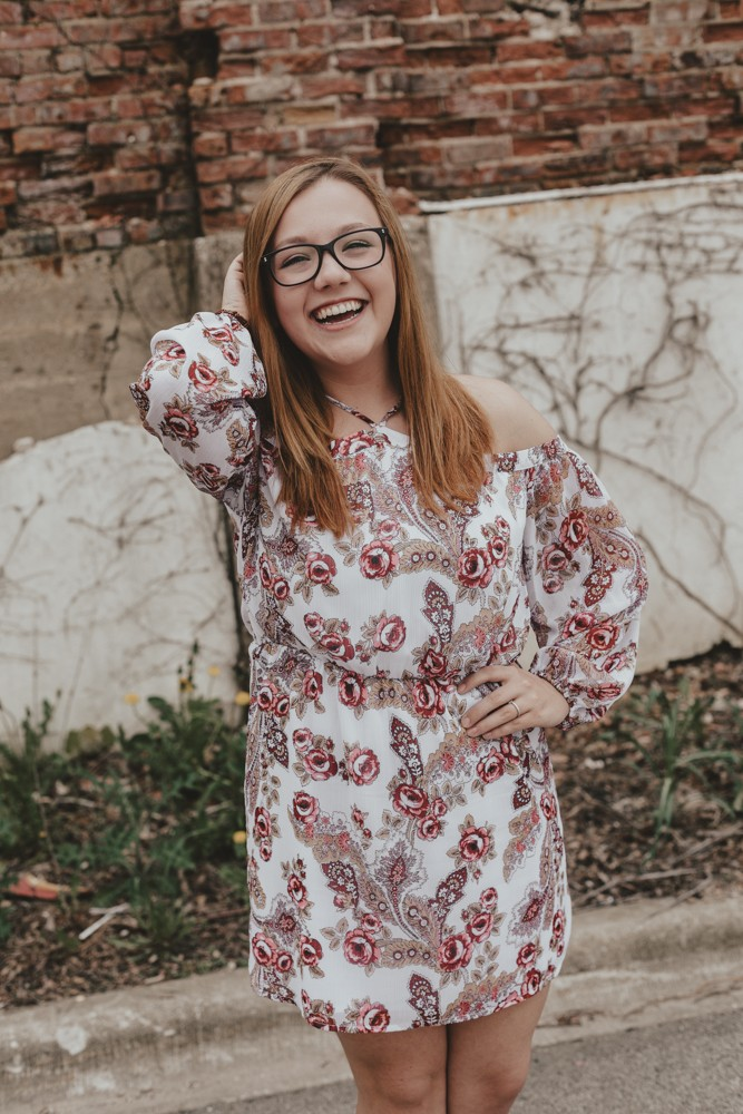 Christian Life High School urban and floral inspired senior portrait session photographed downtown Rockford, Illinois by Sara Anne Johnson