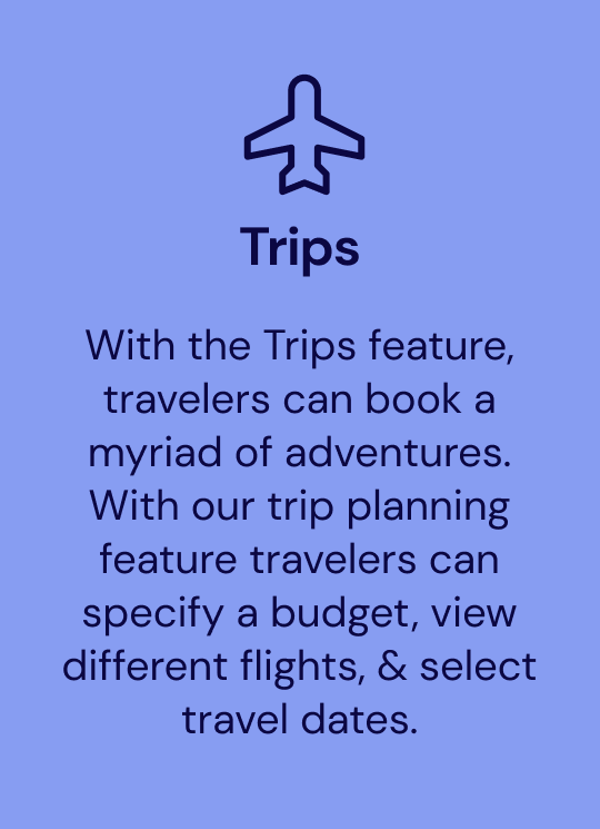 Trip feature, people can book trips
