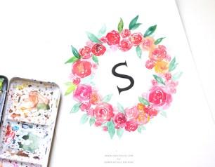watercolor-floral-wreath-monogram-tutorial-7