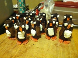 Army of candy penguins I made for an officemate leaving for Antarctica for three monhts.