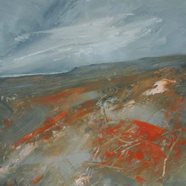 Rain Shower over the Moor - Oil painting on Board
