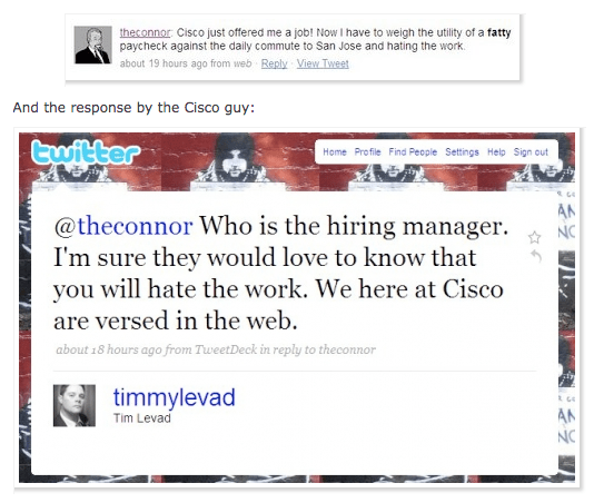 How to loose your job in 140 characters or less