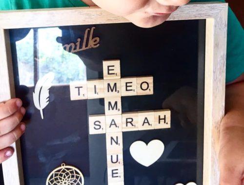 Atelier de Luno : une idée de cadeau personnalisé, le cadre Scrabble.