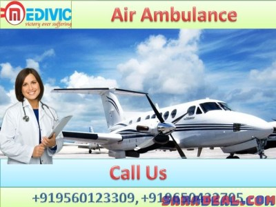 Pick Air Ambulance Services in Varanasi by Medivic Aviation with Doctor