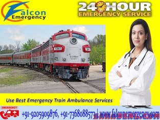 Get Safest Falcon Train Ambulance from Ranchi to Delhi with ICU Facility