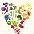 Rainbow veggie heart