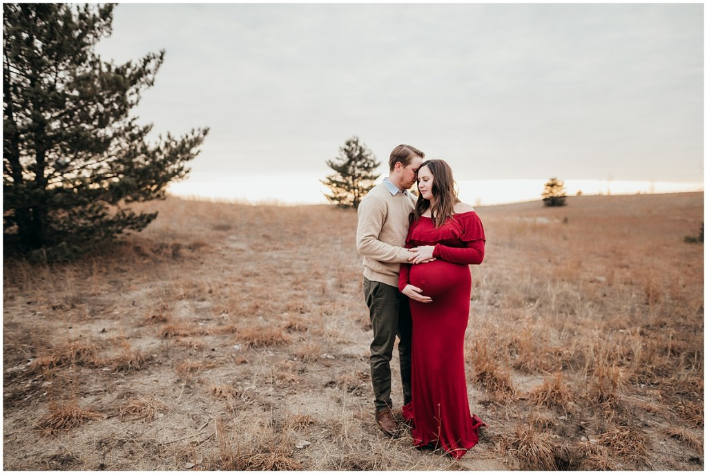 Intimate photo of expecting parents for maternity session in Brighton MI Island Lake State Park