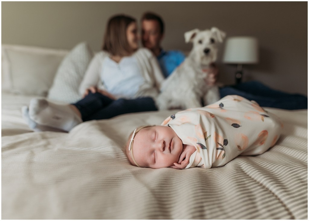 Parents, dog, and newborn baby in their bed Brighton MI home