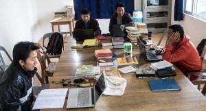 Graduate student studying