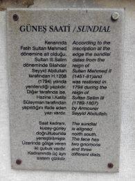 Explanation for Sundial at Topkapi Palace