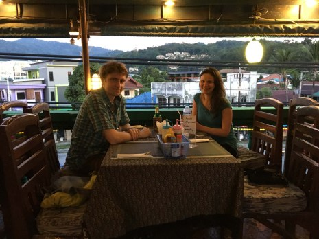 Dinner at a rooftop restaurant we found with reasonable prices, and we were somehow the only guests!