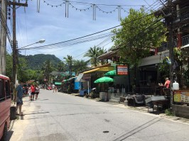Road by Kamala Beach. Busier and more touristy than Nai Yang Beach but still quite peaceful.