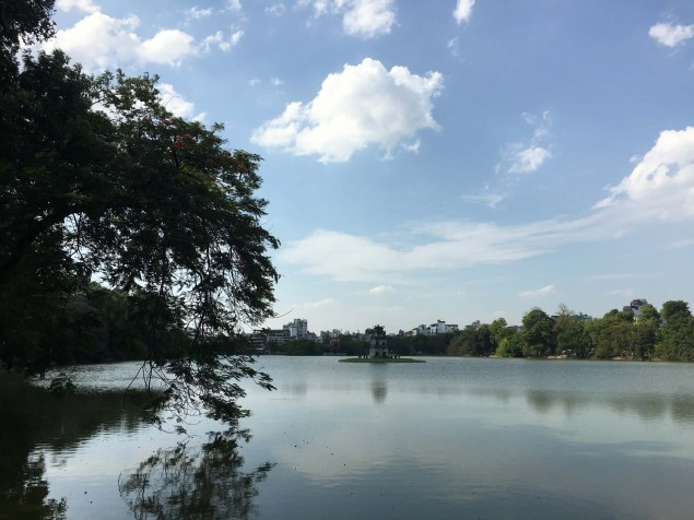 Hoan Kiem Lake, with the Turtle Tower in the centre.
