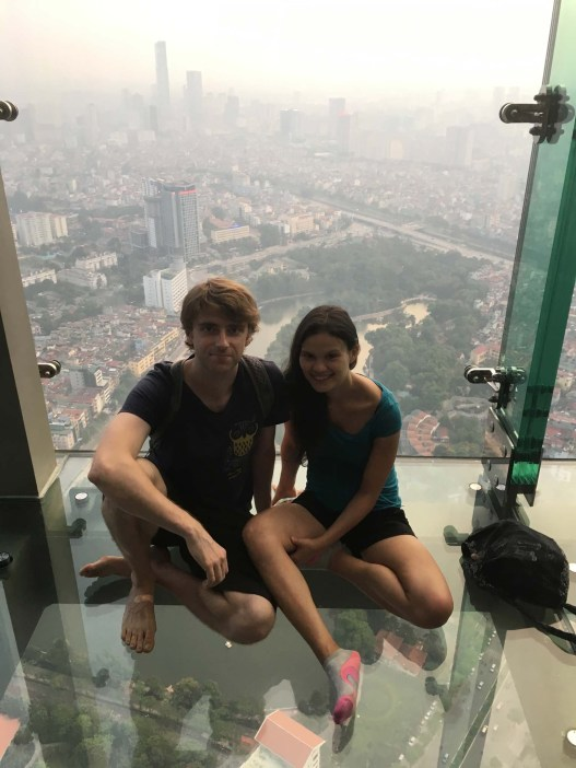 On the 65th floor of the Lotte Observation Deck Sky Walk, the first sky walk built in SE Asia.........definitely a little nervous.