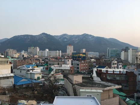 Beautiful Mt. Apsan, as seen from our roof.