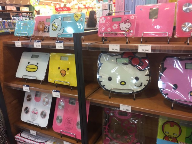 Kakao Friends competitors on the left, Hello Kitty on the right. Scales for children........