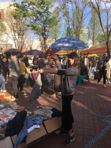 Lovely weekend market in our neighborhood of Hongdae.