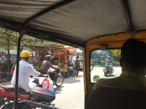 Taking the rickshaw around town.